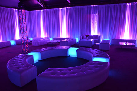 LED Cubes White Leather lounge furniture