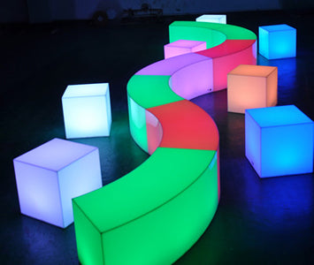 LED Glow Lounge Benches Cubes