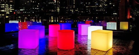 Bar Restaurant LED Glow illuminated furniture for patio deck and terrace