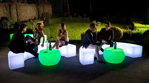 Bar Restaurant LED Glow Illuminated furniture and decor for terrace, patio and deck