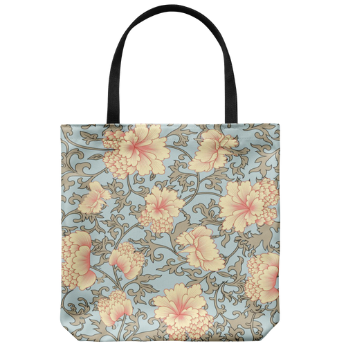'Trish' Pink Camellia Floral Custom Designed Tote Bag 18 x 18 - Pinks, Blues, Tans - Mind Body Spirit