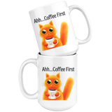 Ahh... Coffee First Wise Cat Large 15 oz Mug