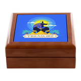 Egyptian Ancient Design Treasure Custom Wooden Jewelry Box in 3 Colors - Mind Body Spirit