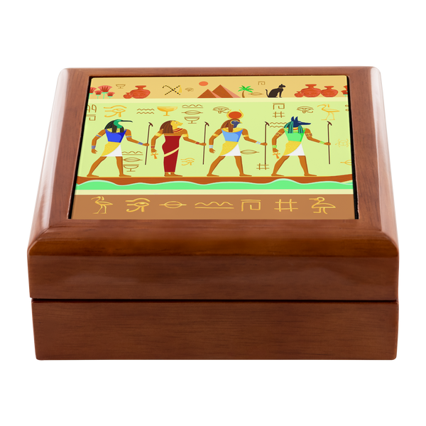 Egyptian Wall Mural Custom Wooden Jewelry Box in 3 Colors - Mind Body Spirit
