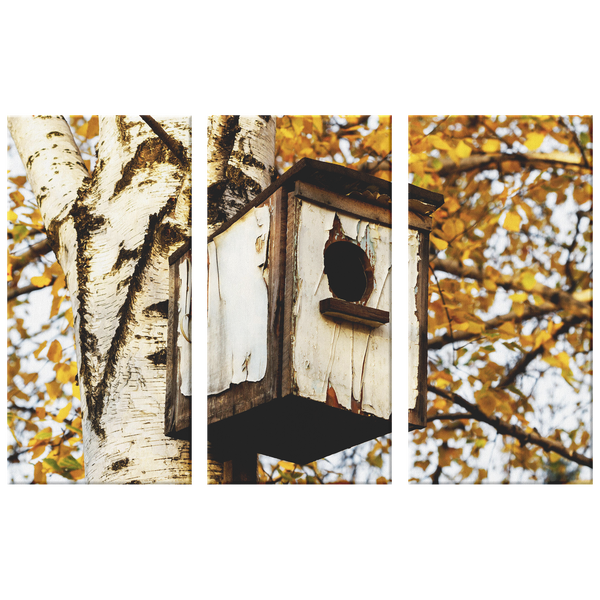 Triptych Rustic Bird House in Birch Tree Terrific 3 Panel Canvas Wall Art, 3 Sizes, Cabin, Living Room, Family Room, Den, Office, Bedroom, - Mind Body Spirit