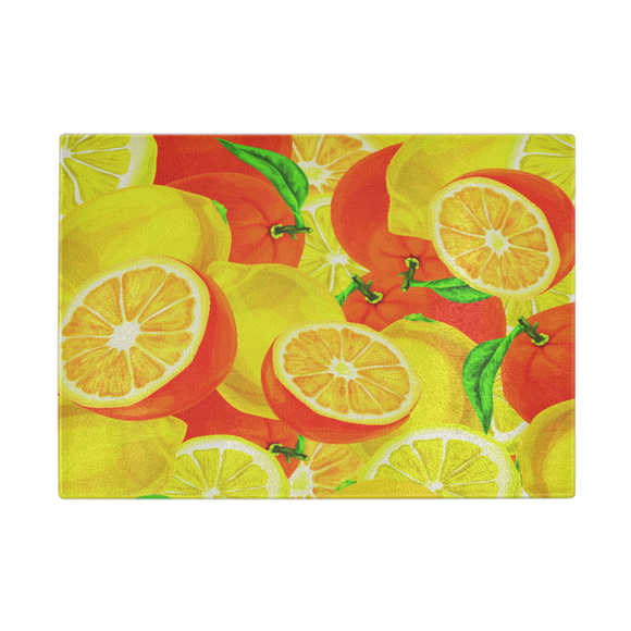 Fresh Cut Lemons & Oranges Designer Cutting Board - Durable Tempered Glass - Mind Body Spirit