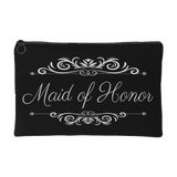 'Grace' Classic Black Maid of Honor Zippered Accessory Pouch 8 x 5 - Mind Body Spirit