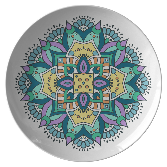 Lovely Della Mandala Designer Dinner Plate 10 Inch Microwave Dishwasher Safe