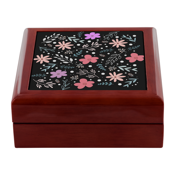 'Andi' Folk Flowers Custom Design Wood Jewelry Box, 3 Colors - Mind Body Spirit