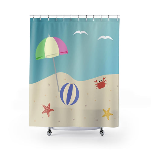 Beach With Umbrella Fabric Shower Curtain Original Design 71 x 74