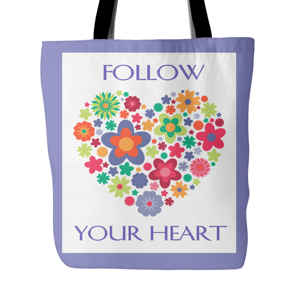 Follow Your Heart Tote Bag 18 x 18 - Iris, Soft Yellow, Soft Green,