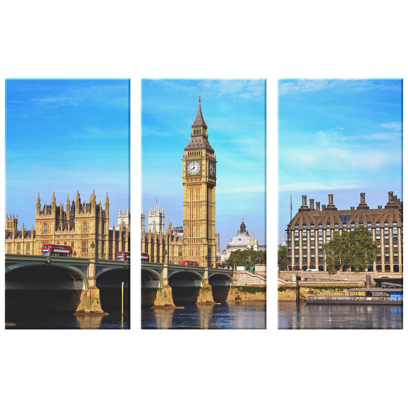 Big Ben London Amazing Triptych 3 Panel Custom Canvas Wall Art, 3 Sizes, Living Room, Bedroom, Family Room, Office, Den,