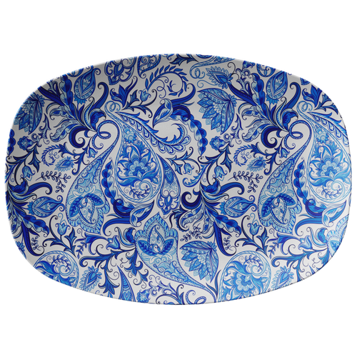 "Vintage Blue and White Paisley Pattern ThermoSāf® Polymer 10x14"" Serving Platter"