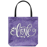 Love and Roses Custom Design Tote Bag 18 x 18, 4 Colors - Mind Body Spirit
