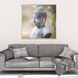 Weathered Buddha Canvas Wall Art - An Ancient Well Loved Image in 4 sizes - Mind Body Spirit
