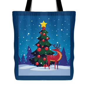 Holiday Outdoor Tree and Reindeer Tote Bag 18 x 18 - Navy - Mind Body Spirit