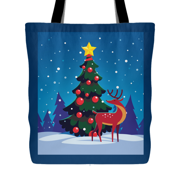 Holiday Outdoor Tree and Reindeer Tote Bag 18 x 18 - Navy