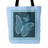 Spread Your Wings And Fly 18 x 18 Tote Bag - Dark Blue, White, Light Blue - Mind Body Spirit