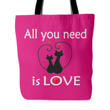 All You Need Is Love Tote Bag 18 x 18 – Hot Pink - Mind Body Spirit