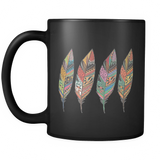 Four Feathers Black 11oz Mug - Mind Body Spirit