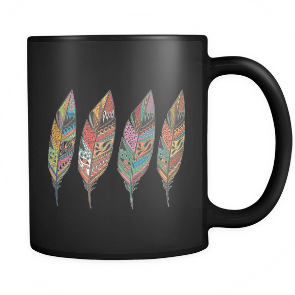 Four Feathers Black 11oz Mug