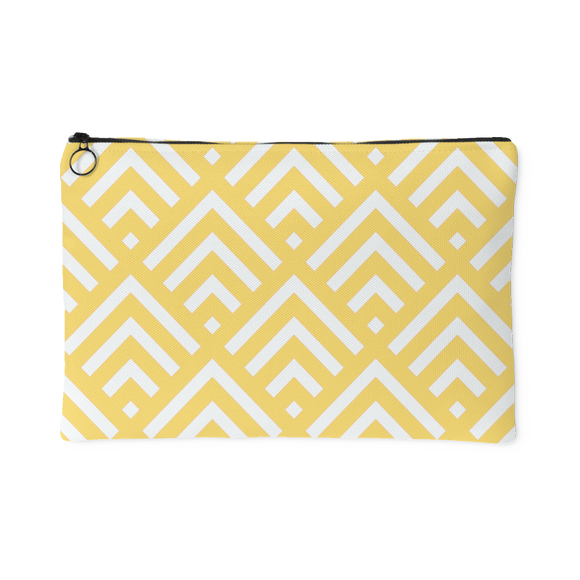 'Deana' Diamond Deco Custom Design Accessory Pouch, 2 Sizes Yellow - Mind Body Spirit