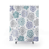 Liza Gray, Teal and Periwinkle Decorative Burst Fabric Shower Curtain Original Design 71 x 74