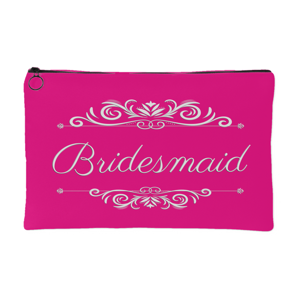 'Grace' Classic Hot Pink Bridesmaid Zippered Accessory Pouch 8 x 5 - Mind Body Spirit