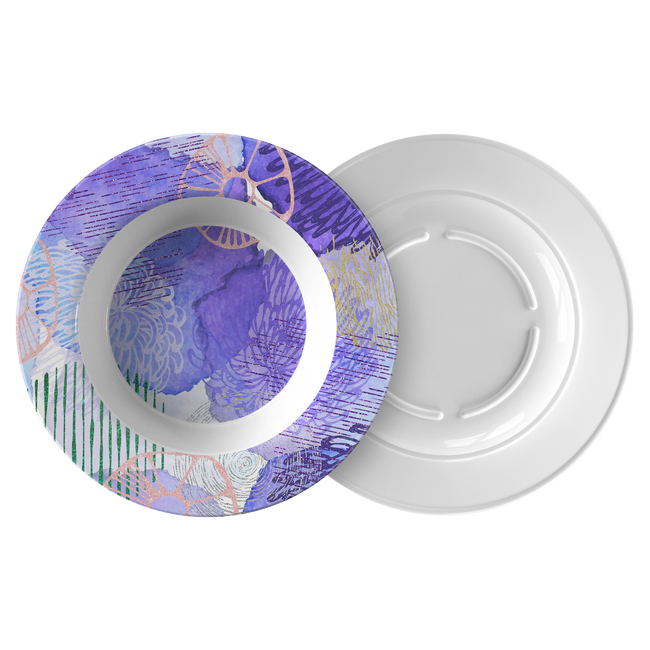 Cool Abstract Blue Purple ThermoSāf® Polymer 8.5 Inch Bowl Microwave Safe
