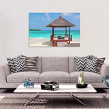 Beach Hut Canvas Wall Art - Blue Inviting Water with Beach Hut in 4 Sizes - Mind Body Spirit