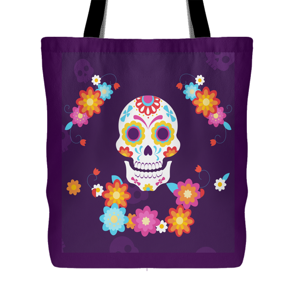 """Kaiya"" - Day of the Dead Colorful Skull 18 x 18 Tote Bag - Purple - Mind Body Spirit"