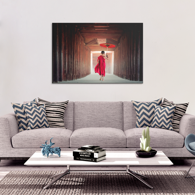 Monk With Red Umbrella - Wonderful Image With Pop of Color in 4 Sizes - Mind Body Spirit