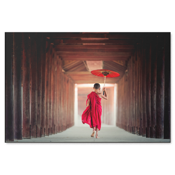 Monk With Red Umbrella - Wonderful Image With Pop of Color in 4 Sizes