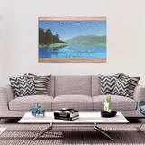 Oh What a Wonderful World Faded Mountain Lake Wood Print Canvas Wall Art - Mind Body Spirit