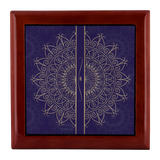 Midnight Blue Gold Mandala Designer Wooden Jewelry Box in 3 Colors