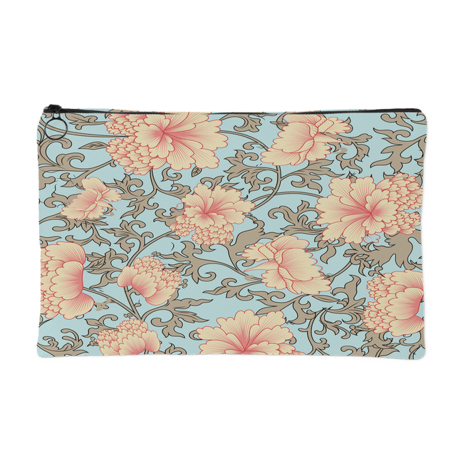 'Trish' Pink Camellia Floral Custom Zippered Accessory Pouch 2 Sizes - Mind Body Spirit