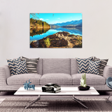 Mountain Lake Reflection Canvas Art - Peaceful Relaxing Mountain Scene in 4 Sizes;