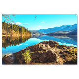 Mountain Lake Reflection Canvas Art - Peaceful Relaxing Mountain Scene in 4 Sizes; - Mind Body Spirit