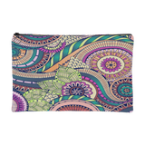 Abstract Boho Swirls Multi-color Print Zippered Accessory Pouch 2 Sizes