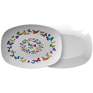 Butterfly Circle Designer Serving Platter Microwave and Dishwasher Safe - Mind Body Spirit