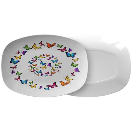 Butterfly Circle Dinner Plate 10 Inch Microwave and Dishwasher Safe