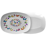 Butterfly Circle Designer Serving Platter Microwave and Dishwasher Safe