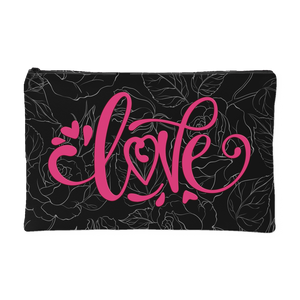 Love and Roses Custom Design Accessory Pouch Black, 2 Sizes - Mind Body Spirit