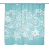 Lissa - White Paisley Lace Print Shower Curtain 70 x 70 in Teal, Vanilla, Grey - Mind Body Spirit