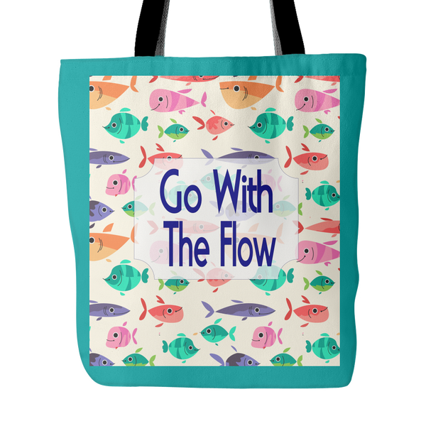 Go With The Flow Cute Fish Tote Bag 18 x 18 - Teal - Mind Body Spirit