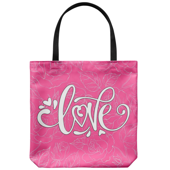 Love and Roses Custom Design Tote Bag 18 x 18, 4 Colors