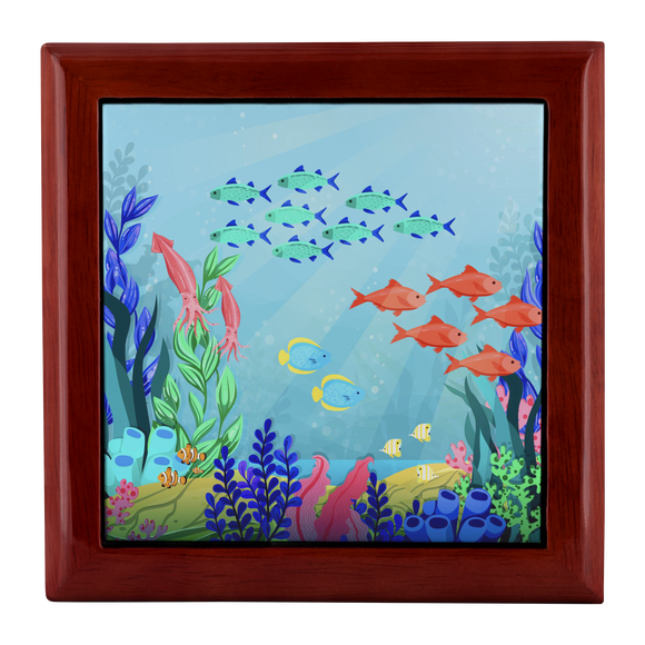 Under The Sea Colorful Fish Custom Wooden Jewelry Box - 3 Colors