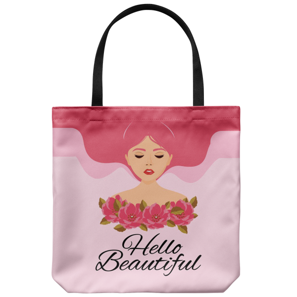 Hello Beautiful Lady In Pink Custom Design Tote Bag 18 x 18 - Mind Body Spirit