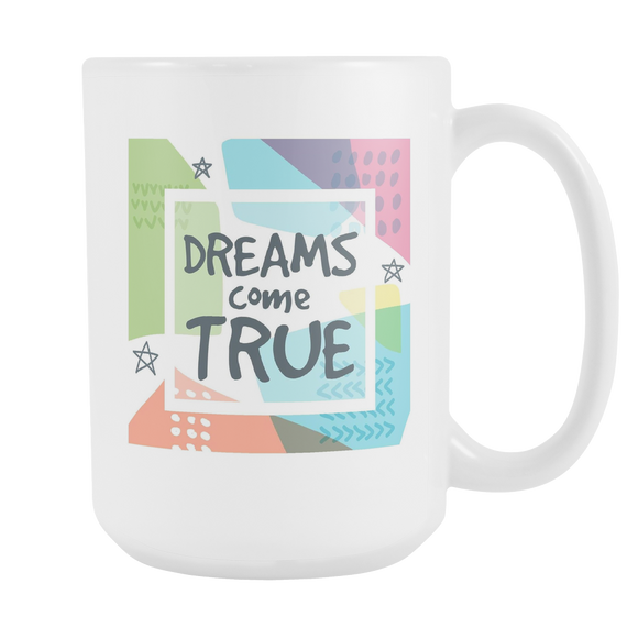 Dreams Come True Large 15 oz Ceramic Mug - White, Sage, Navy
