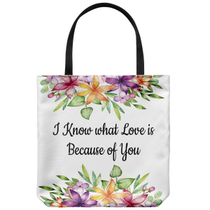 "I Know What Love Is...Custom Designed Tote Bag 18"" x 18"" - Mind Body Spirit"